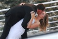 Wedding kiss on ship