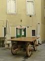 Old farm wagon, now bar table