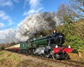 """""""Witherslack Hall"""" steam locomotive at Orchard Crossing, Worcestershire, England."""
