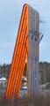 Orange power line pylons
