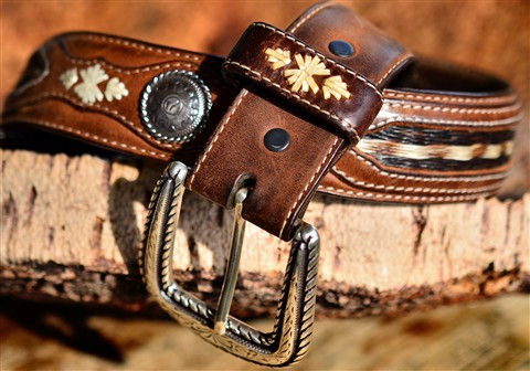 western belt with horse hair