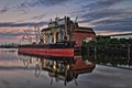 Bulk carrier Ince Beylerebeyi working at the GTH grain dock in Hamburg, Germany