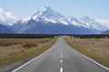 New Zealand's tallest mountain in the middle of the South Island, approached from the south on State Highway 80