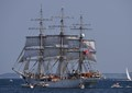 Norwegian Training Ship Christian Radich leaving Aarhus