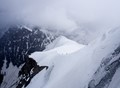 Ominous weather at the slope from the Aiguille du Midi