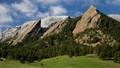 Boulder Flatirons after a late Spring snow.