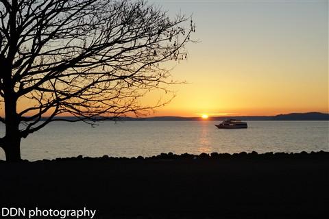 Boat in sunset