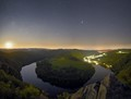 Moonrise above Vltava river
