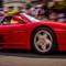 Ferrari arriving at the show: At the Lymington Italia Festival 2018 - about 50 Ferraris present.