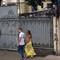 man and women walking