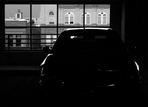 Car in parking deck B&W - small