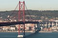 It connects Lisbon with Almada across the Tagus river. Opened in 1966. View from Almada.