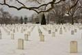 Arlington National Cemetery with snow
