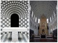 1607KirchenDiptych_MognoMuenchen On the left hand side: San Giovanni Battista (Fusio, Switzerland) designed by Mario Botta, 20th century AD.  ~ On the right hand side: St. Michael (München, Germany) designed by Friedrich Sustris and Wendel Dietrich, 16th century AD