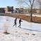 Walking home from school on a frozen river