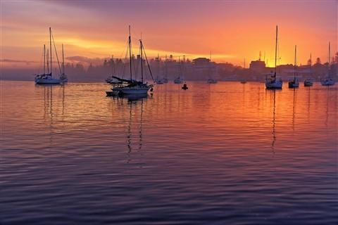 Misty Sunrise on Pelican Harbour