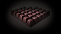 The strict geometry of tiles of dark chocolate