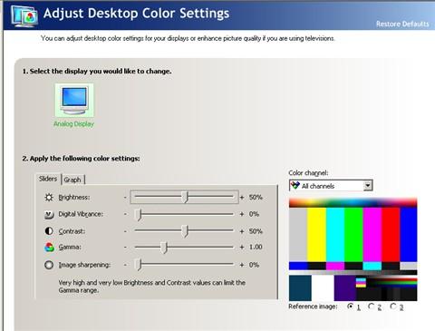 NVidea Desktop Color Setup w Color Bars