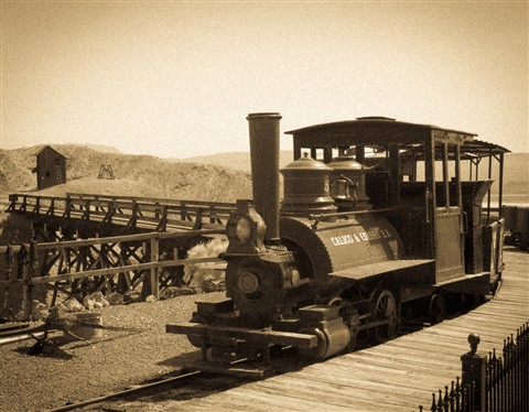 19th century locomotive in Calico train station